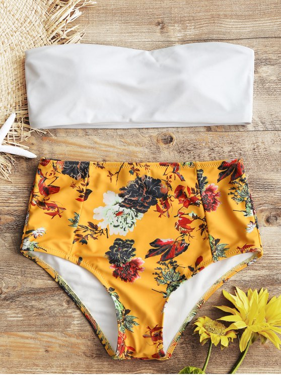 womens Bandeau Top and Floral High Waisted Swim Bottoms - WHITE M