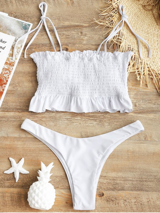 Schnürung Smocked High Cut Bikini Set - Weiß M
