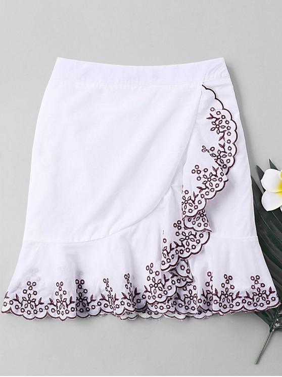 online Plant Embroidered Trim Fishtail Skirt - WHITE XL