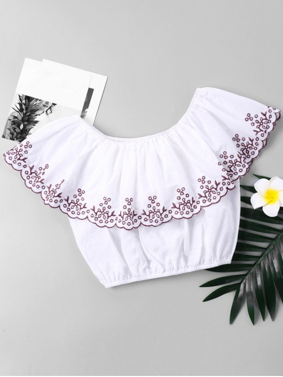 affordable Embroidered Trim Flounce Cropped Blouse - WHITE L