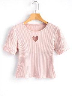 Geschnittenes Herz Ausgeschnitten Geripptes Top - Pink L