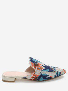 Patchwork Low Heel Mules Shoes - Blue 40