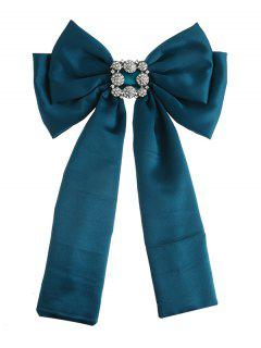 Retro Inlaid Artificial Gems Double-layer Bowknot Corsage Brooch - Green