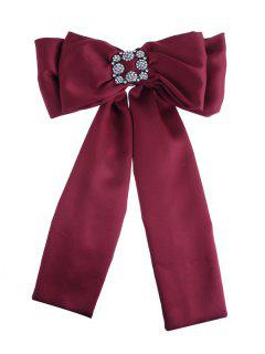 Retro Inlaid Artificial Gems Double-layer Bowknot Corsage Brooch - Red