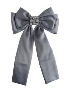 Retro Inlaid Artificial Gems Double-layer Bowknot Corsage Brooch - Gray