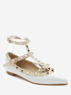 Ankle Strap Pointed Toe Flats - White 36