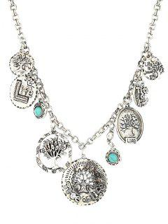 Round Coins Carved Tree Alloy Pendant Necklace - Silver