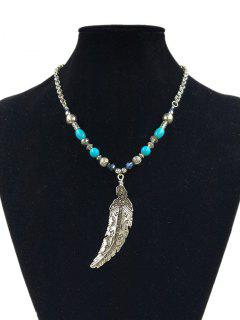 Diamante Feather Various Beaded Pendant Necklace - Silver