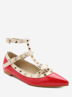 Ankle Strap Pointed Toe Flats - Red 36