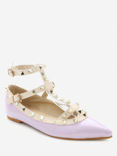 Ankle Strap Pointed Toe Flats - Purple 36