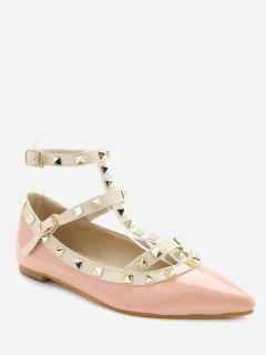 Ankle Strap Pointed Toe Flats - Pink 36