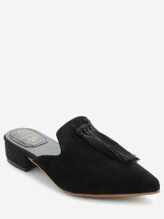 Pointed Toe Backless Loafers - Black 37