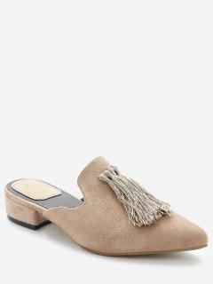 Pointed Toe Backless Loafers - Khaki 35