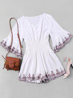 Half Button Embroidered Trim Romper - White M