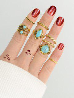 Artificial Turquoise Circle Finger Ring Set - Golden One-size