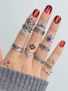Rhinestone Teardrop Pony Crucifix Finger Ring Set - Silver One-size