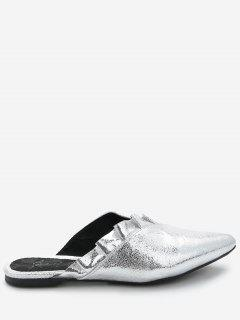 Casual Ruched Embellished Mules Shoes - Silver 40