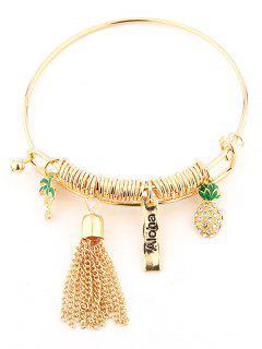 Rhinestone Pineapple Fringed Charm Bracelet - Golden