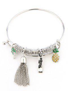 Bracelet Charmant Avec Breloques Motif Cocotier Ananas En Strass - Argent