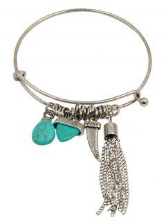 Artificial Turquoise Teardrop Fringed Charm Bracelet - Silver
