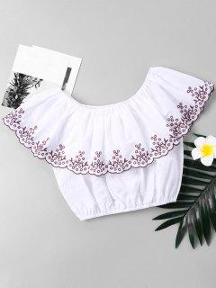 Blusa Corta Con Volantes Y Borde Bordado - Blanco Xl