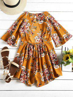 Floral Print Open Back Loose Romper - Saffron Yellow S