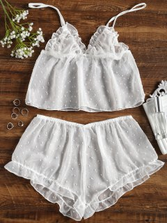 Dotted Voile Camis And Shorts - White