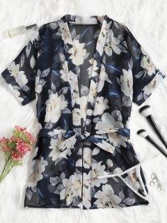 Floral Kimono Robe - Purplish Blue