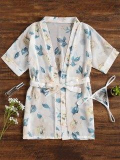 Robe Kimono Fleurie - Blanc