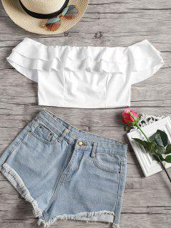 Off Shoulder Tiered Crop Blouse - White L