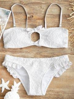 Spitzen Bedeckt Rüschen Bandeau Bikini Set - Weiß M