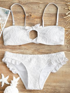 Ensemble Bikini Bandeau Avec Superpositions à Volants En Dentelle - Blanc S