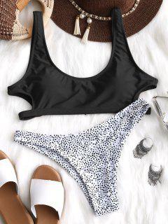 Cutout Leopard Bikini Set - Black M