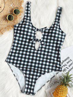 Plus Size Tied Low Back Checked Swimwear - Plaid 3xl