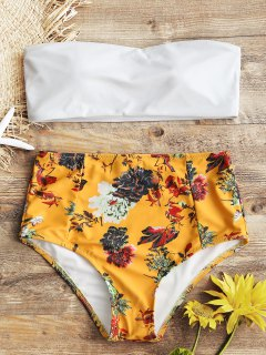 Bandeau Top And Floral High Waisted Swim Bottoms - White L