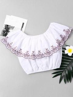 Embroidered Trim Flounce Cropped Blouse - White L