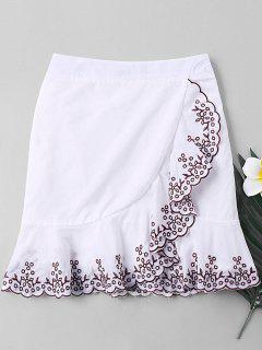 Plant Embroidered Trim Fishtail Skirt - White M