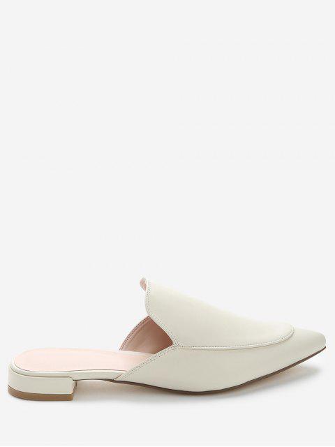 Zapatos de mulas de tacón bajo de punta estrecha - Albaricoque 39 Mobile