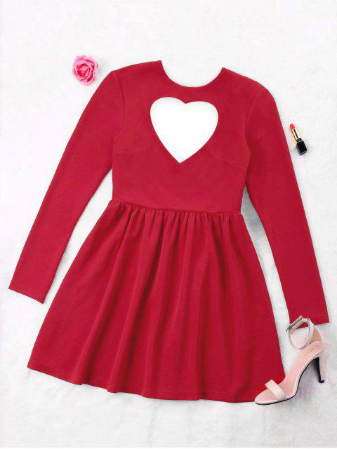 unique Heart Cut Skater Dress - BRIGHT RED M Mobile