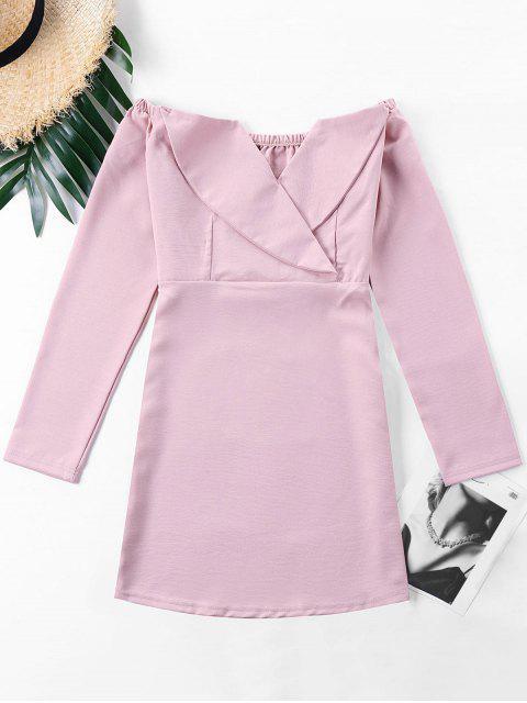 women Off The Shoulder Foldover Dress - PINK L Mobile