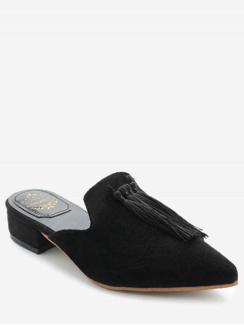 buy Pointed Toe Backless Loafers - BLACK 36 Mobile