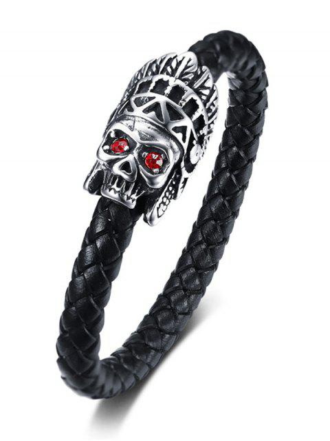 new Metal Skull Rhinestone Embellished Leather Bracelet - BLACK  Mobile