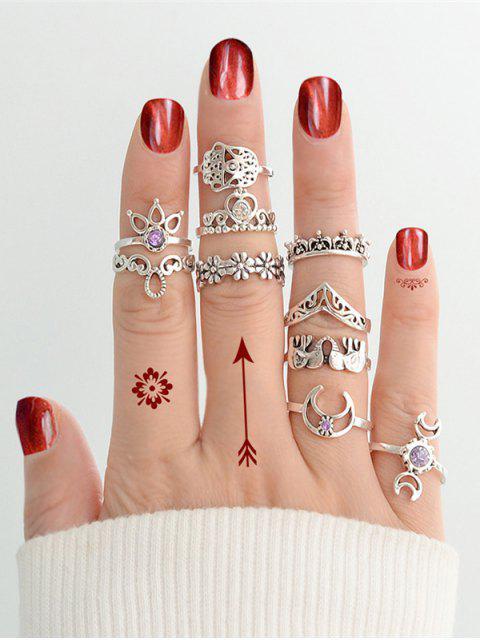 Strass Mond Herz Elefant Blumen Ring-Set - Silber Einheitsgröße Mobile