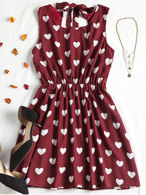 outfits High Contrast Cut Out Valentine Mini Dress - BURGUNDY S Mobile