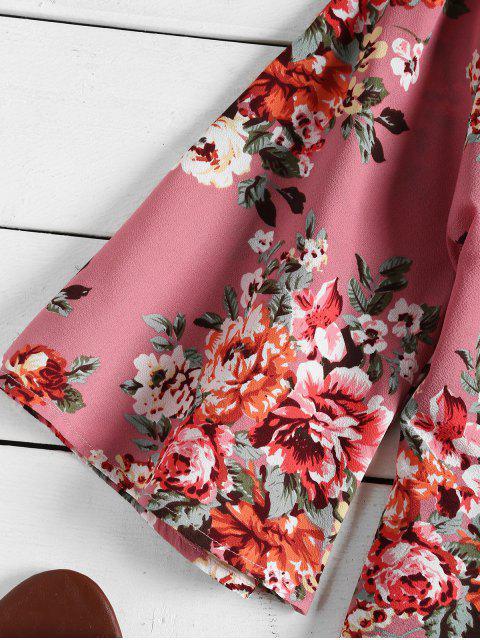 Estampado floral espalda abierta mameluco flojo - Rosa Profundo L Mobile