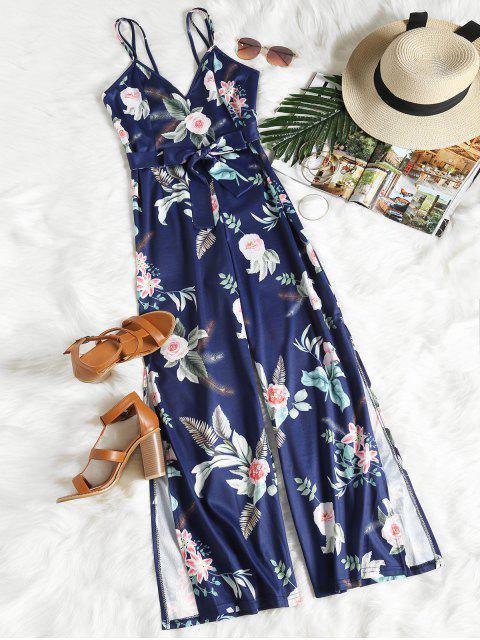 unique Floral Print Slit Belted Cami Jumpsuit - PURPLISH BLUE S Mobile
