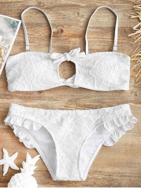 Spitzen bedeckt Rüschen Bandeau Bikini Set - Weiß S Mobile