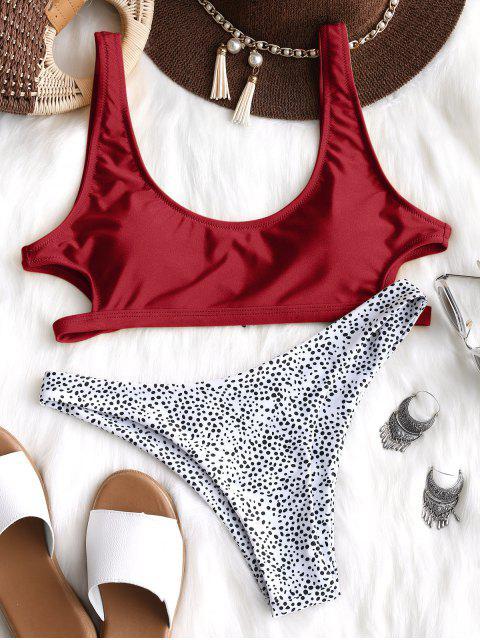 Ausgeschnitt Leopard Bikini Set - Rot L Mobile