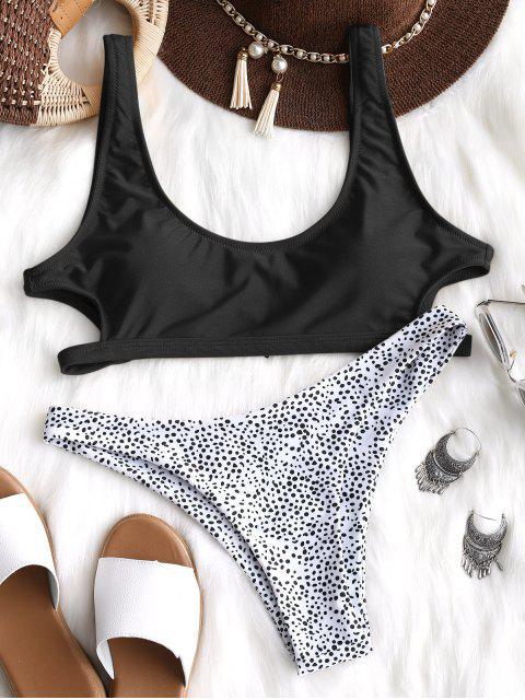 Ausgeschnitt Leopard Bikini Set - Schwarz S Mobile