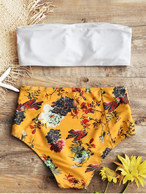 buy Bandeau Top and Floral High Waisted Swim Bottoms - WHITE L Mobile